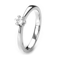 Solitaire-ring i hvidguld 0.05 ct
